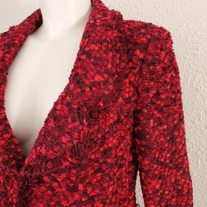 Rare St. John Couture Red Boucle Knit Jacket 10